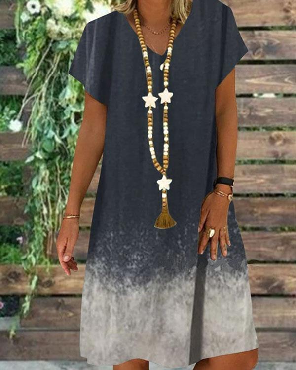 Women Casual V-Neck Ombré Color Short Sleeve Summer Dress