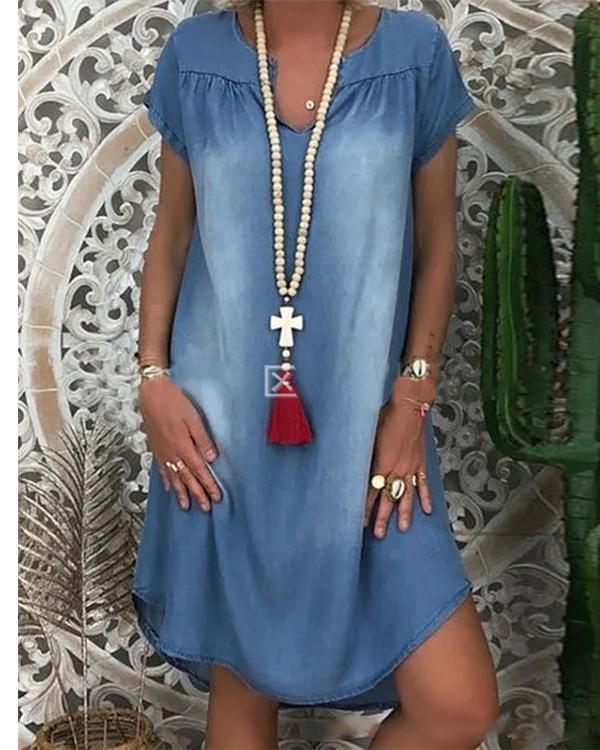 Vintage Casual Plus Size Blue V Neck Denim Dresses