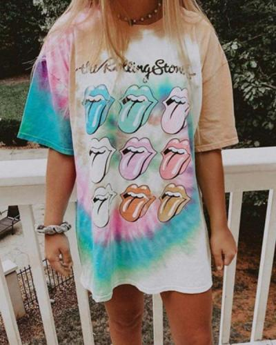 Colorful Round Neck Short Sleeve Tie-Dye Tee