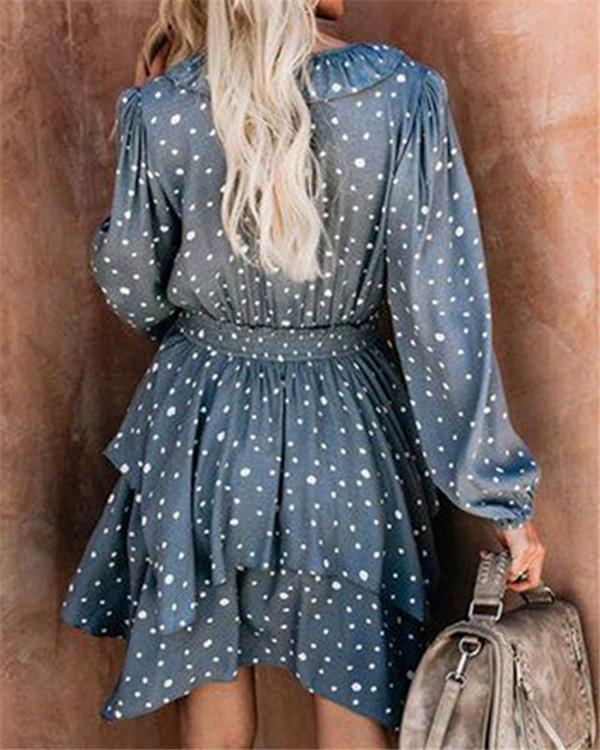 V Neck Polka Dots Women Summer Vacation Casual Dress