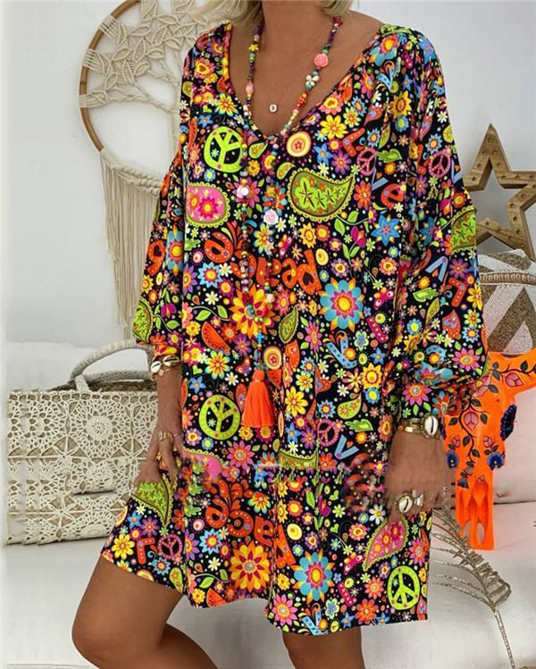 Casual Women Summer  Printed Loose Dress