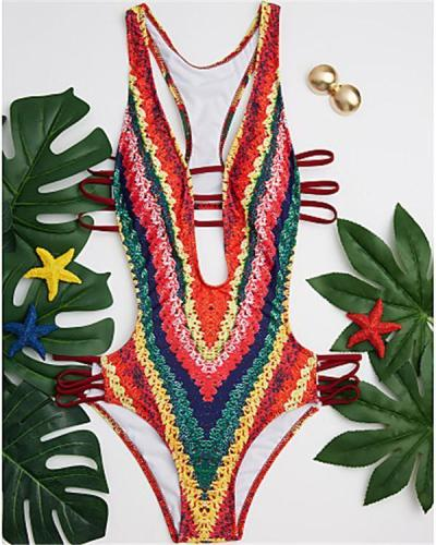 Women's Plunging Plunging Neck Rainbow Cheeky One-piece Swimwear