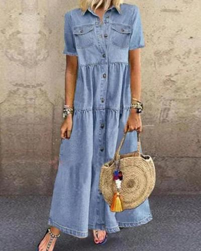Blue Plain Denim Short Sleeve Shirt Collar Dresses