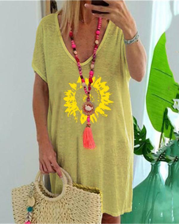 Women's Fashion Printed Holiday Daytime Plus Size Mini Dress