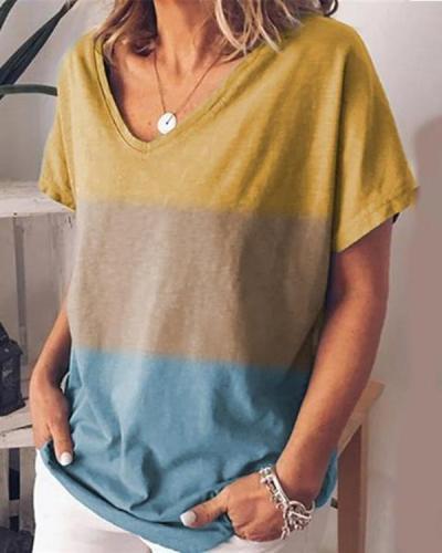 Casual Stripe V-Neck Short-Sleeves Shirt