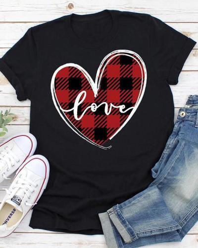 Valentine Love Heart Plaid Printed Splicing T-Shirt Tee