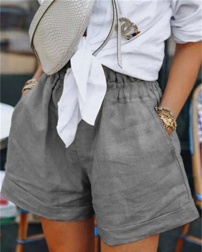 Women Summer High Waist Solid Color Shorts