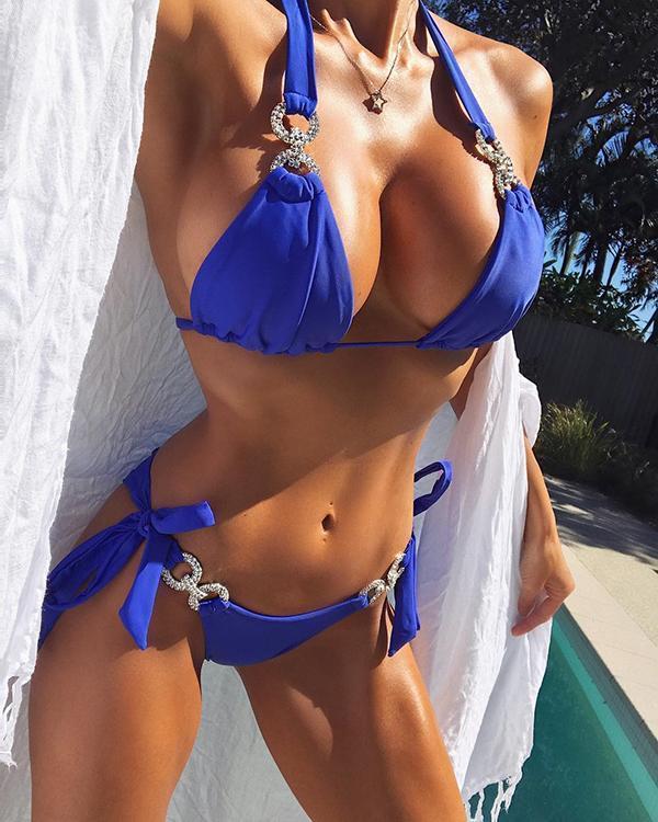 Halter Studded Design Bikini Sets