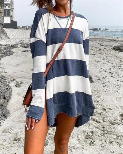 Printed Women Stripe Long Sleeves Side Split Long Shirts