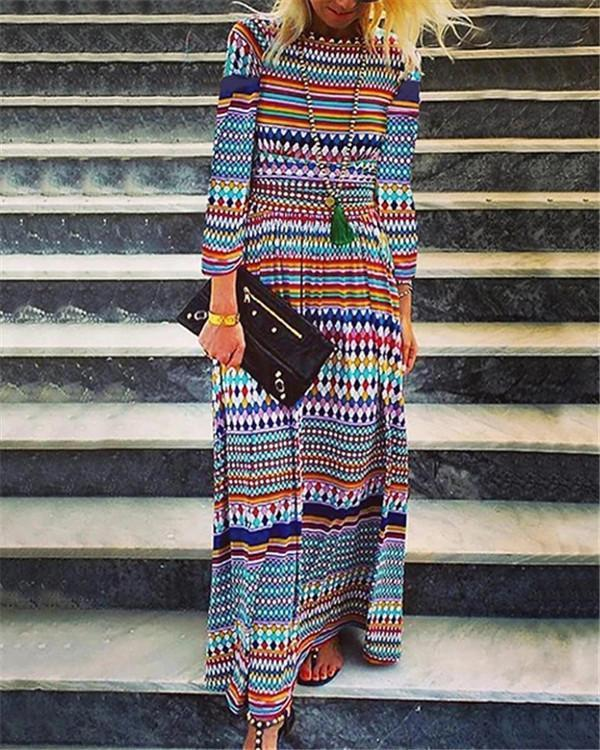 Folk Polka Women Holiday Daily Fashion Maxi Dresses