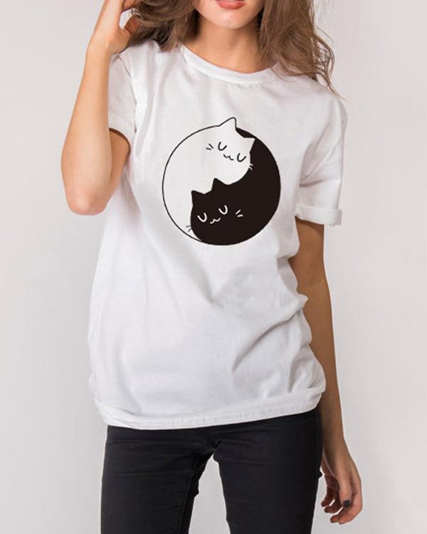 Girl's Casual Cute Printed Short Sleeve T-Shirt