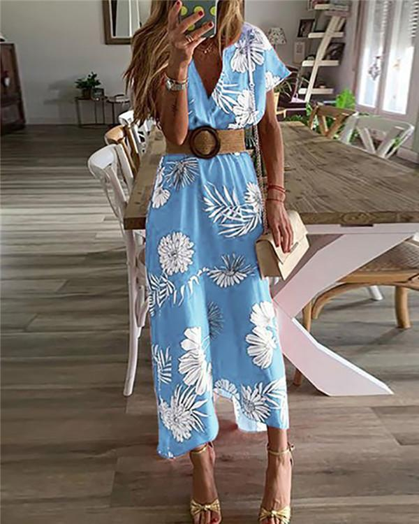 Casual V Neck Belted Printed Colour Short Sleeve Dress