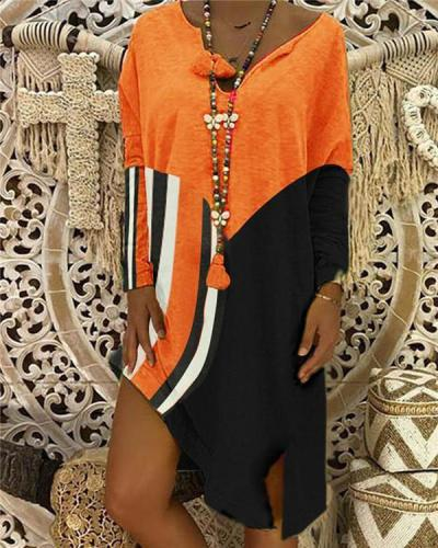 Women Plus Size Irregular Long Sleeve Midi Dress