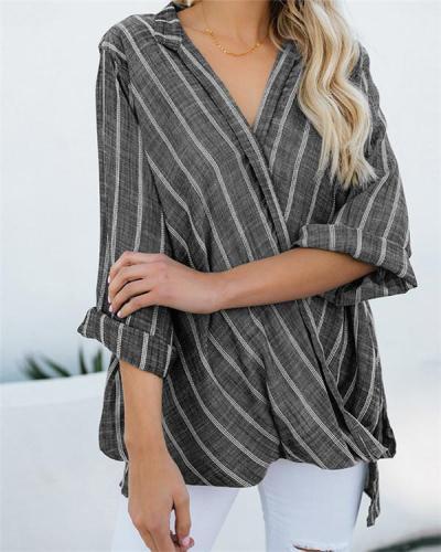Women Stripe V Neck Long Sleeve Irregular Blouse