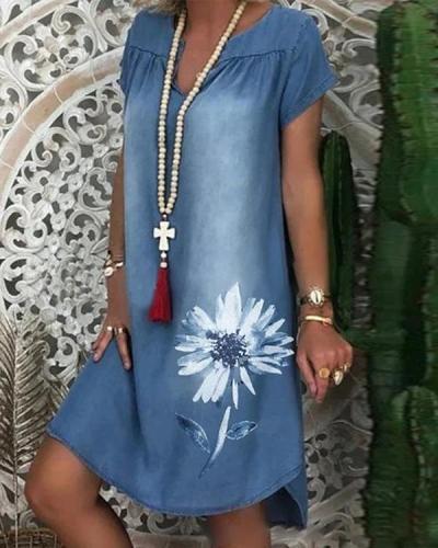 Vintage Casual Plus Size Floral Printed V Neck Denim Dresses