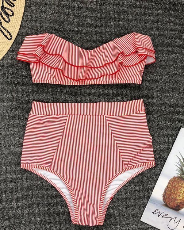 Cute Women Stripe Flounce Ruffled High-Waisted Bikini Swimsuits