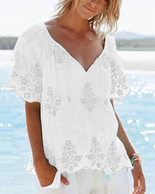 Casual V Neck Summer Printed Plus Size Tops