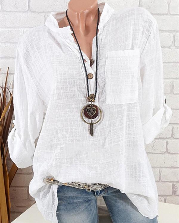 Women Casual Solid Color V-Neck Long Sleeve Cotton Blouses Tops
