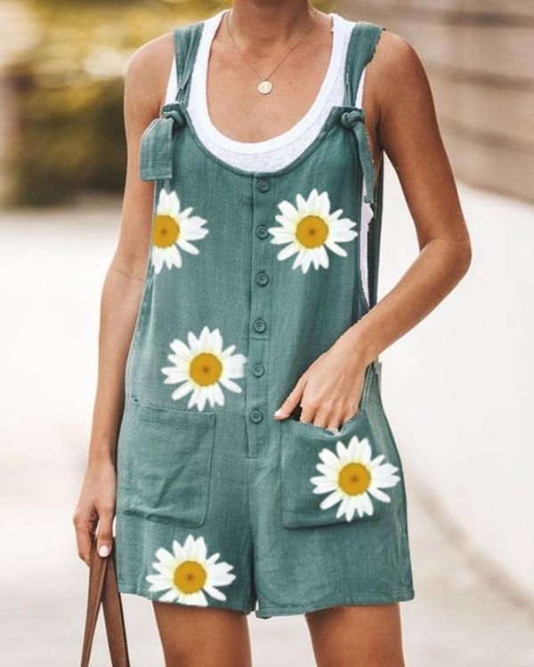 Floral-Print Casual Cotton-Blend One-Pieces Jumpsuit