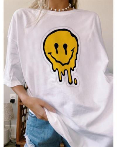 Casual smiley printed short sleeve long T-shirt