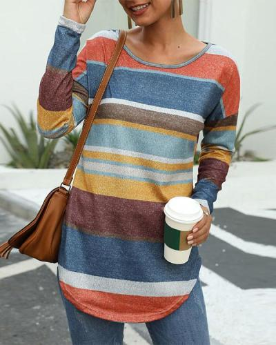 Colorful Striped Long Sleeve Blouse