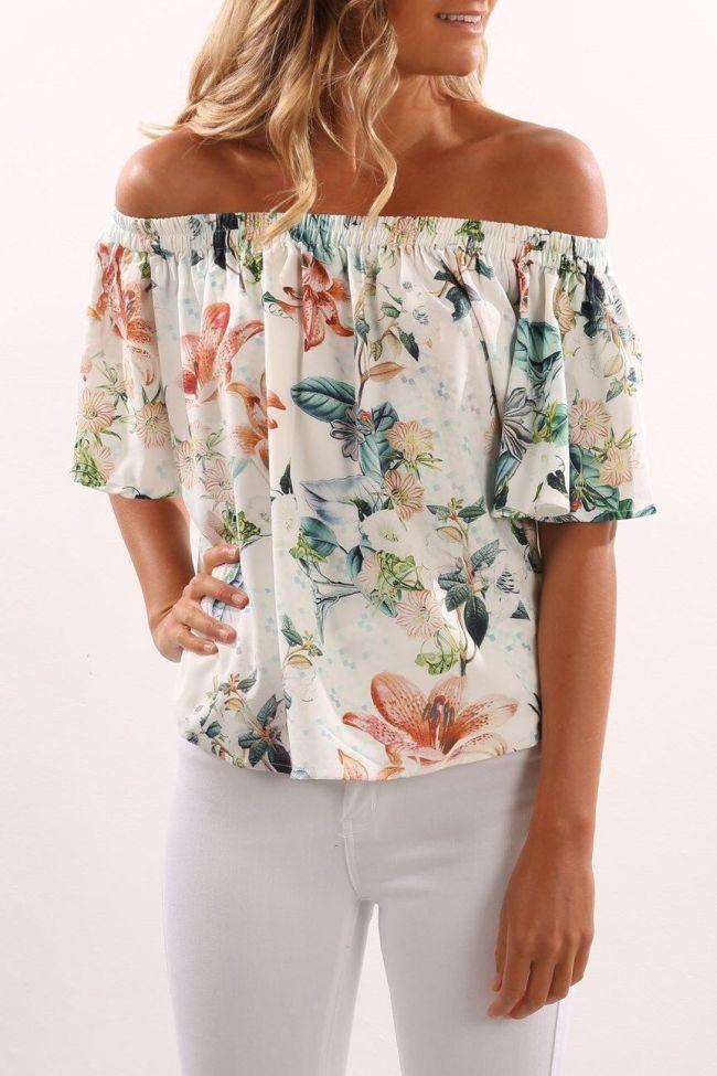 Random Floral Print Off Shoulder Long Sleeves Blouse