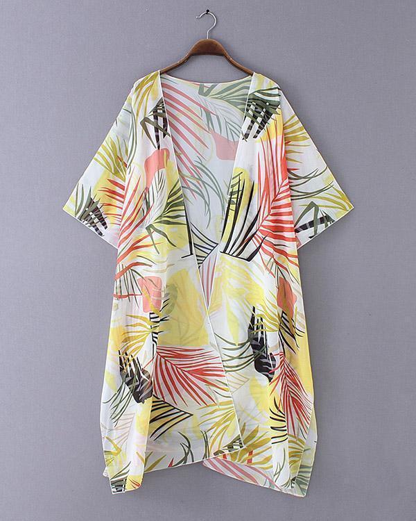 Women's New Loose Colored Leaves Bikini Beach Cardigan