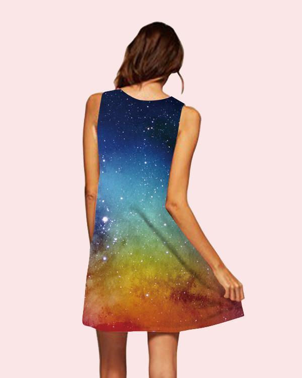 Galaxy Printed Sleeveless Beach Dress