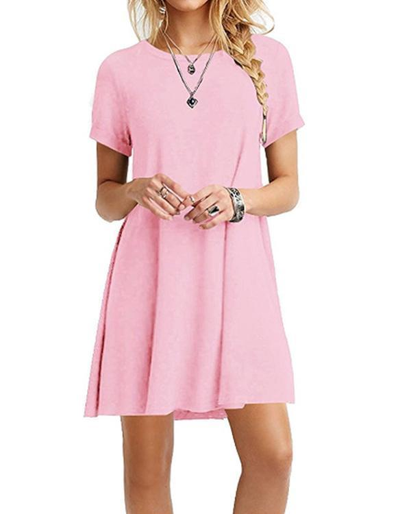 Women's Casual Short Sleeve Multicolor Loose T-Shirt Dress