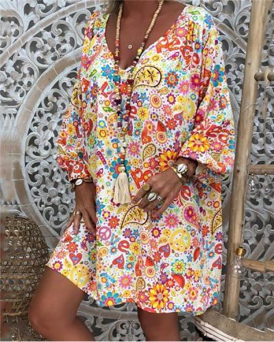 Casual Women Summer  Printed Loose Dress