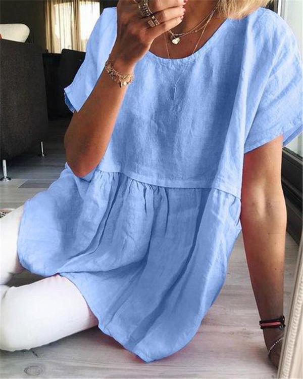 Plus Size Summer Solid Women Holiday Blouse