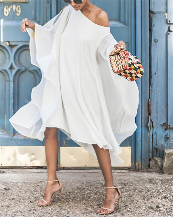 Irregular Ruffle One-shoulder Flare Sleeve Bohemian Midi Dress