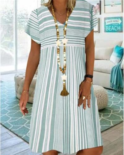 Casual Stripe V-Neckline Knee-Length A-line Dress