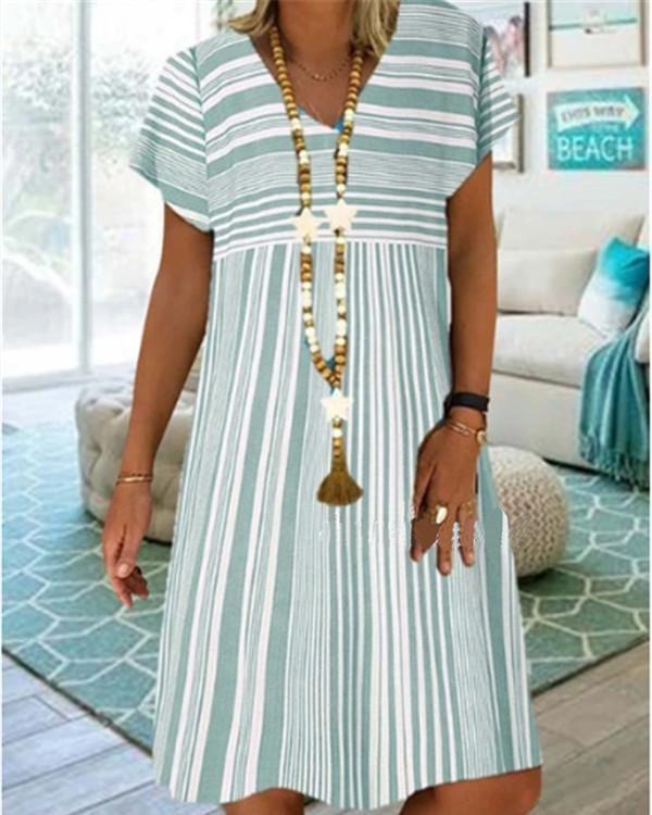 Casual Stripe V-Neckline Knee-Length A-line Dress