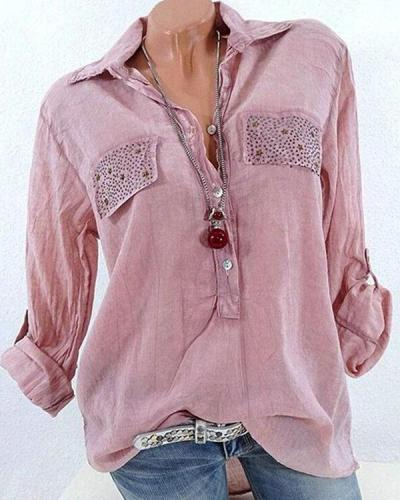 Casual Lapel Long Sleeve Sequins Decorated Women Shirts Tops