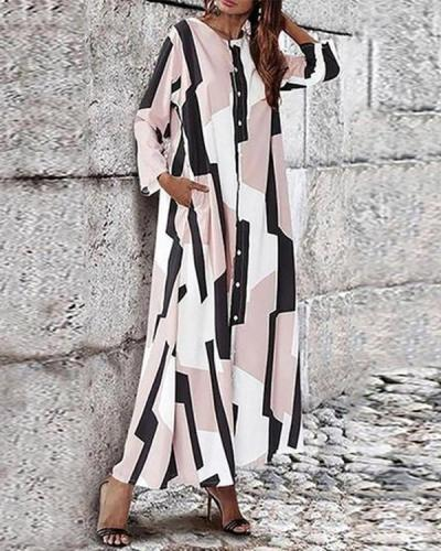 Commuting Single-Breasted Round Neck Contrast Color Maxi Dress