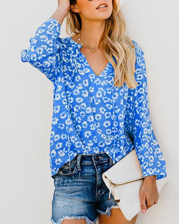 Women Casual Printed V-Neck Long Sleeve Blouse Tops