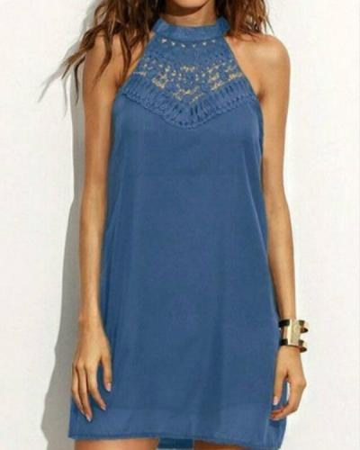 Fashion Halter Hollow Out Round neck Mini Dresses