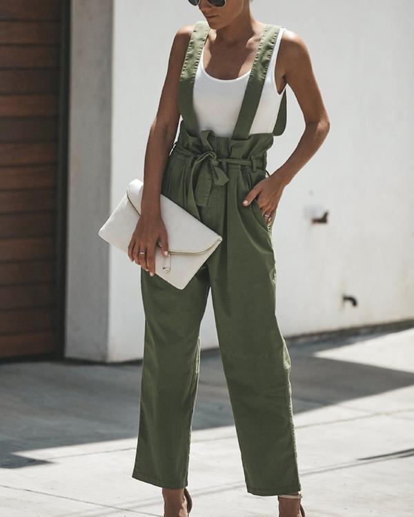 Vintage Pure Color Waist Strap Jumpsuits