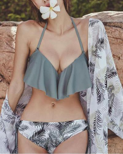 Women's Casual Ruffled Print Swimsuit Three Piece Set