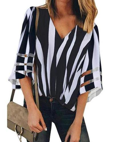 V-Neck Mesh Stitching Trumpet Sleeve Striped Blouse Tops