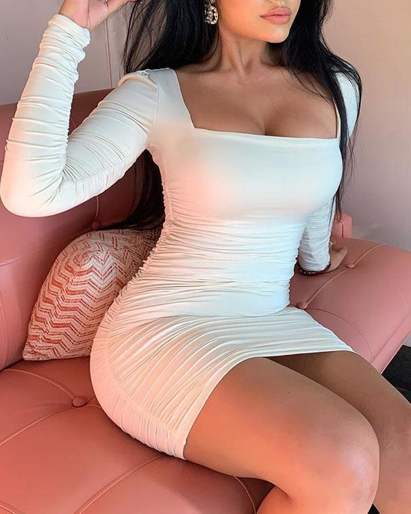 Women's Solid Color Backless Cut-out Bodycon Dress