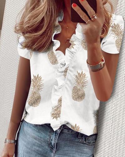 Women Casual Ruffled V-neck T-shirt Printed Tops