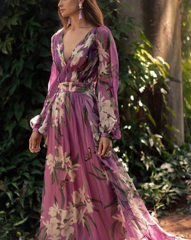 Women Sexy Floral Printed V-Neck Evening Party Dress
