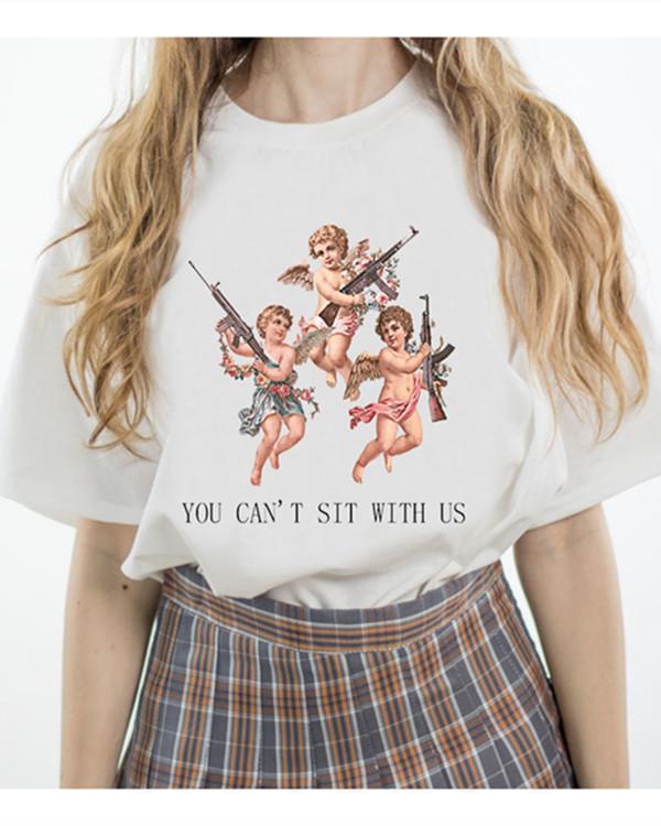 Angel print round neck short sleeve T-shirt