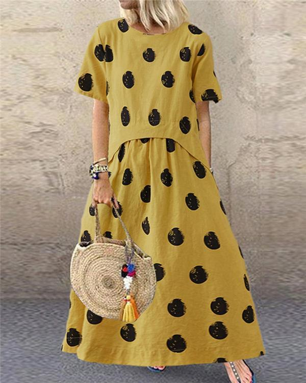 Casual Polka Dot Print Short Sleeve Plus Size Dress