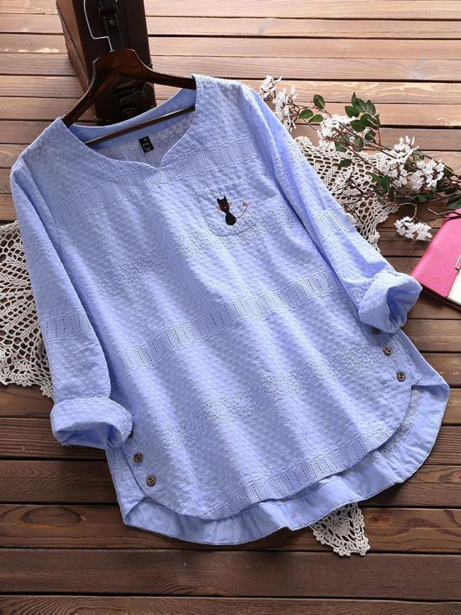 Casual Flower Embroidery Women's Long-sleeved Shirts