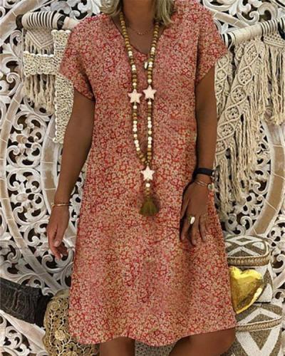 Women Casual Short Sleeve Printed Plus Size Dress