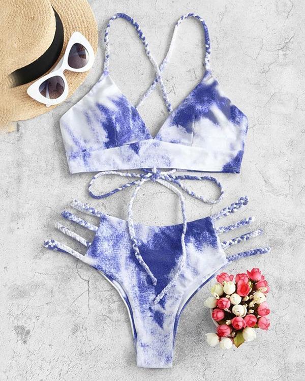 Gradient Lace-up Bikini Set