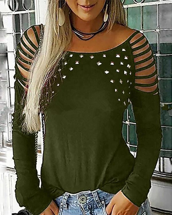 Women Fashion Neck Hollow-Out Studded Long Sleeve T Shirts Casual Tops